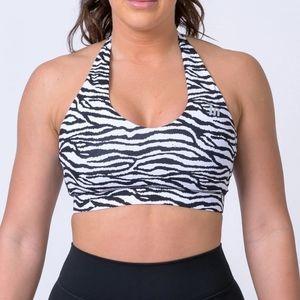 NWT Muscle Nation Zebra Halter Top Sports Bra